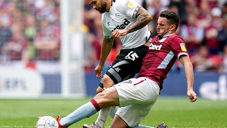 Derby County's Bradley Johnson was unable to repeat his previous play-off success with Norwich City