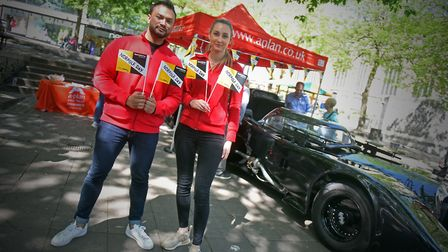 The A-Plan Insurance team with the 89 Batmobile, Haymarket, Norwich. Picture: Jamie Honeywood