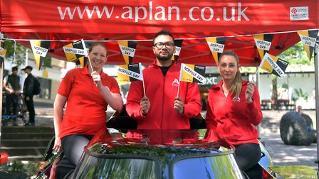 The A-Plan Insurance team in the 89 Batmobile, Haymarket, Norwich. Picture: Jamie Honeywood