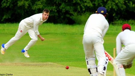 Young seamer Crispin Clarke in action for Swardeston at The Common on Saturday Picture: TIM FERLEY