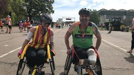 First and second in the wheelchair race Naomi Adie (left) and Martin Pitchers (right). Picture: Ella