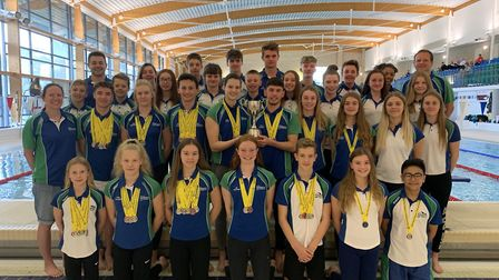 City of Norwich Swimmers celebrate their East Region Top Club award. Picture: Alex Pinniger