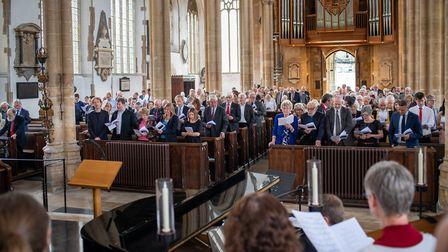 The memorial service for Patricia Hollis at St Peter Mancroft church in Norwich. Photo: Norwich City