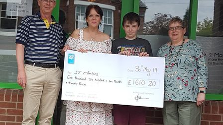 Tina and Georgie Davis presenting a cheque to St Martins Housing Trust in Norwich, raised by Neil Da