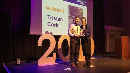 Tristan Cork receiving the Special Recognition Award at the South Norfolk Community Awards. Picture:
