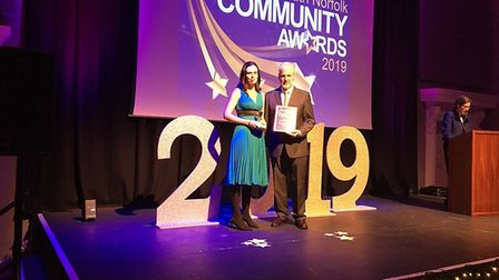 Community Wellbeing Champion of the Year Samantha Laurie, from Long Stratton, at the South Norfolk C