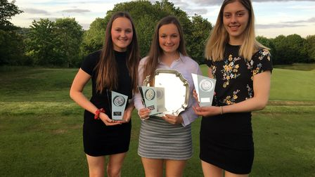 The winning Norfolk Schools team of Eve Neild, Hope Neild and Chloe Gibbs face the camera Picture: N