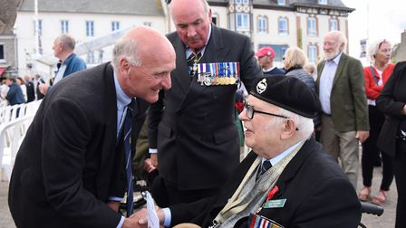 The Lord General Dannatt, centre, introduces Norwich Normandy veteran Jack Woods, right, to the Hono