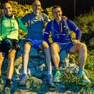 Neil Featherby, Jason Wright and Charles Allen on their Hadrian's Wall charity challenge. Picture: M
