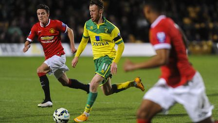 Sam Kelly in action for Norwich City against Manchester United in a development team match Picture: