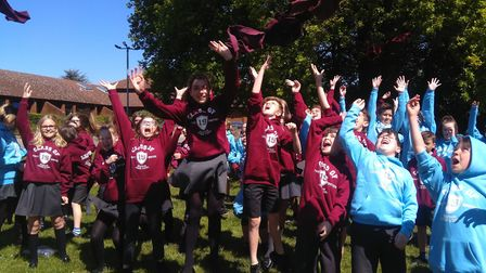 Pupils celebrate after Heacham Junior School is rated good by Ofsted Picture: Submitted