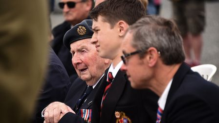 Normandy D-Day veteran, David Woodrow at Hill 112 for one of the 75th anniversary services, with his