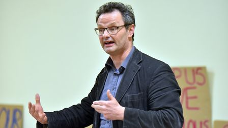 MP Peter Aldous at the Save All Hallows Trust public meeting at Ditchingham Village Hall. PICTURE: J