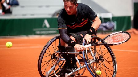 Alfie Hewett in action at the French Open during his singles quarter-final win Picture: Alex Pantlin