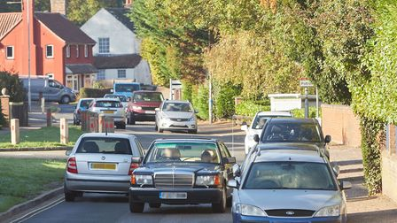 Traffic on West End in Costessey. Pic: Norfolk County Council.