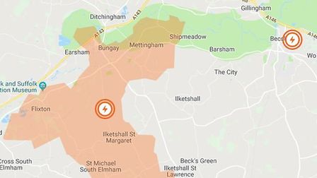 The power cut affected almost 250 homes in the NR35 1 and NR35 2 areas, according to UK Power Networ
