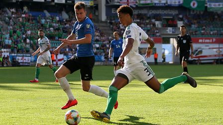 Jamal Lewis in action for Northern Ireland in Estonia Picture: PA