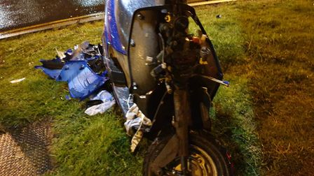 Wayne Tingey's motorcycle was written off after the hit-and-run crash on Denmark Road, Lowestoft in