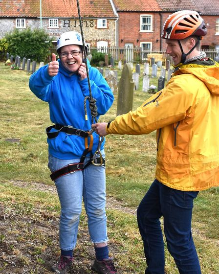 Brave souls took a leap of faith from Pakefield Church tower, with Rev Sharon Lord giving it a thumb