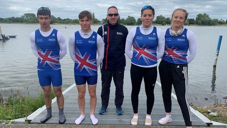 From left, Ben Want, Toby Booth, Tim Scott (coach), Sofia Groves and Grace Anderson. Picture: Norwic