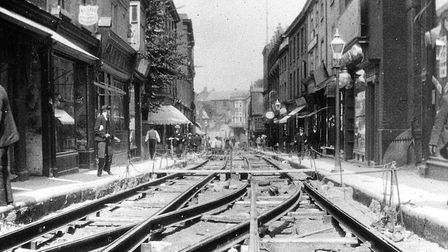 Tramlines are laid in St Stephen's, Norwich. The tram service began in 1900 and lasted until 1935. P