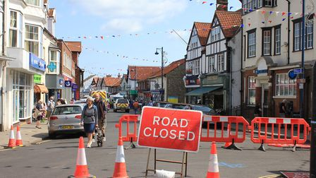 High Street, Sheringham, which is closed while repairs are carried out to the sinkhole.Photo: KAREN