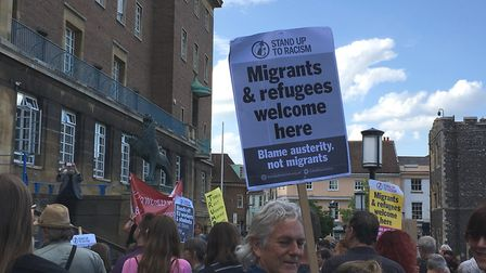 People gathered outside City Hall in Norwich for a rally protesting against US president Donald Trum