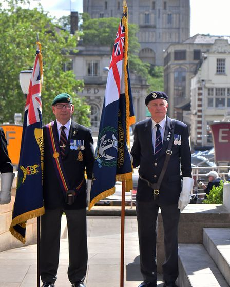 The D-Day commemoration ceremony outside City Hall, Norwich. Picture: Jamie Honeywood