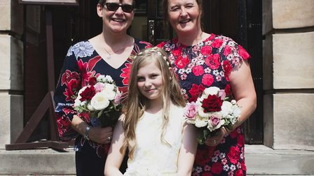 Micheala Yeates with wife Jane Yeates on their wedding day, shortly debfore Michaela's death in Janu