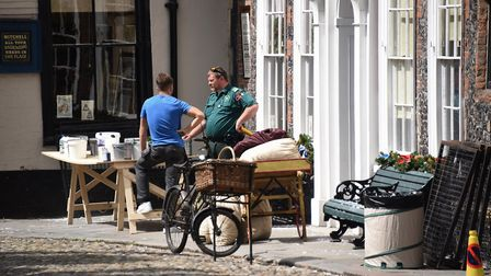 Props around Elm Hill during the transformation for the filming of the musical Jingle Jangle being p