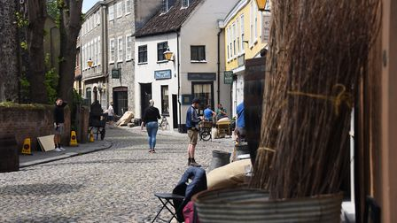 Elm Hill being transformed for the filming of the musical Jingle Jangle being produced for Netflix b