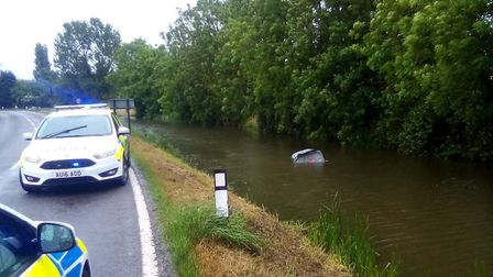 A driver had a lucky escape after crashing into a river. Picture: King's Lynn Police
