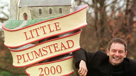 The Little Plumstead village sign, when it was unveiled in 2000 Photo: Bill Smith
