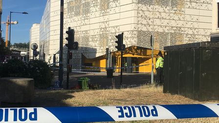 A police cordon at Rose Lane car park after the fatal stabbing in June 2018. A man is on trial in No