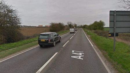 The A47 between Hockering and Honingham was blocked after a coach broke down. Picture: Google