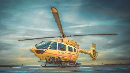 The East Anglian Air Ambulance helicopter, Anglia One was called out. Photo: EAAA