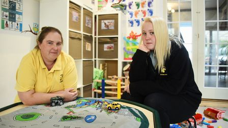 JCB's Childcare manager, Jennifer Harper, left, who is unhappy with the change in nursery funding ar