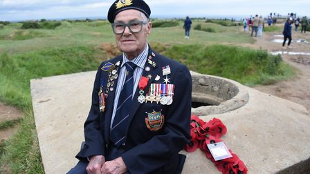 Normandy veteran Harry Bowdery from Suffolk, visits Pointe du Hoc, where 75 years ago he was droppin