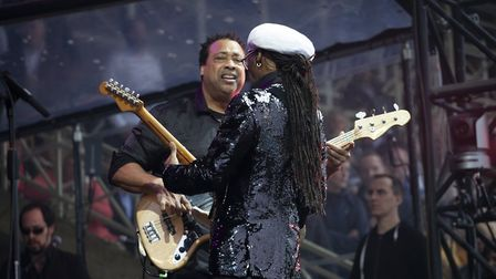 Nile Rodgers and Chic at Newmarket Racecourse Credit: Angela Smith