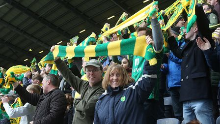 The traveling Norwich fans before the Sky Bet Championship match at the DW Stadium, WiganPicture by