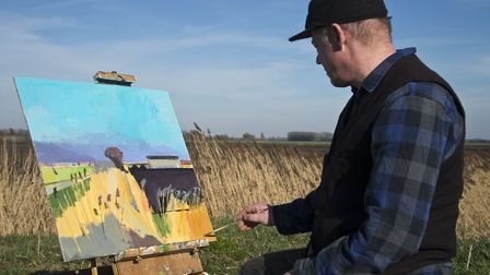 Fred Ingrams painting in the Fens Picture: Christopher Drake