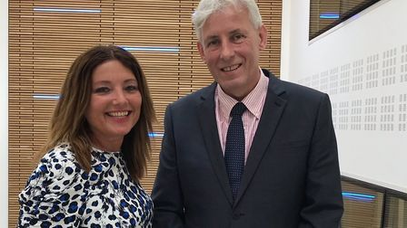 Dr Chris Bushby, the CEO of The Big C, with business writer Caroline Culot. Picture: Ella Wilkinson