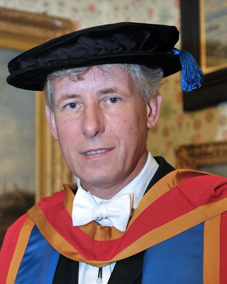 Chris Bushby received an honorary doctorate from UCS. Pic; Archant