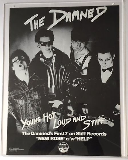 """""""Young hot loud and stiff"""" The Damned promote their first 7"""" record. Picture: Steven Ashley/Punk in"""
