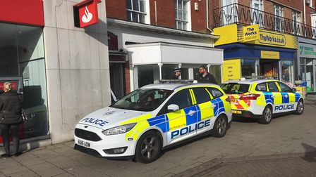 Police cordon off alleyway near Great Yarmouth market place. Picture: Joseph Norton