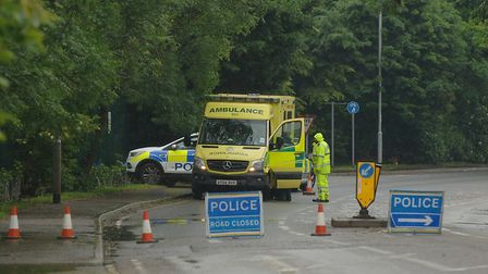 Emergency services at the scene where a body was found on Cromwell Road, in Wisbech Picture: Chris