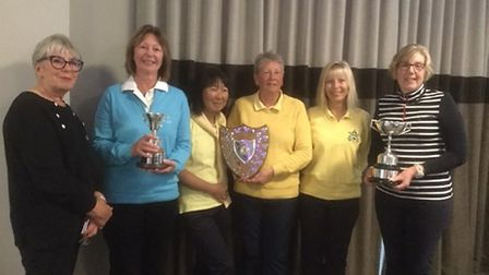Pictured at the Norfolk LCGA Division Two meeting at Barnham Broom are, from left to right, Heather