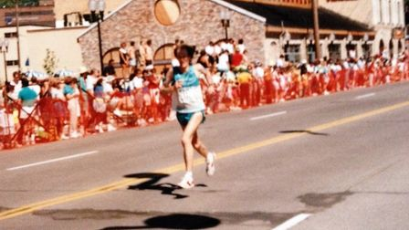 Neil Featherby on the finishing straight at the Grandma's Marathon, Deluth. Picture: Neil Featherby