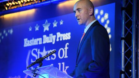 Dave Powles, editor of the Eastern Daily Press, speaks at the Stars of Norfolk and Waveney Awards. P