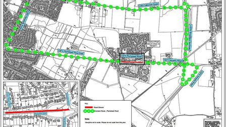 A map showing where traffic will be diverted during the closure of Plumstead Road in Thorpe End. Pic